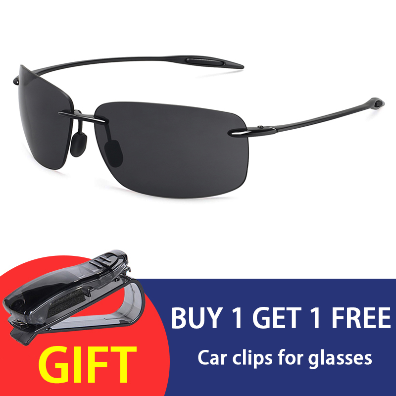 JULI Classic Sports Sunglasses Men Women Male Driving Golf Rectangle Rimless Ultralight Frame Sun Glasses UV400  De Sol MJ8009