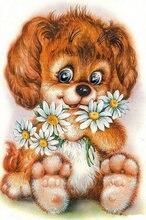 Diamond Embroidery dog icon 5D Diy diamond painting Cross Stitch animal picture round Rhinestones diamond mosaic pattern flowers