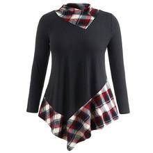 Warm Plus Size Asymmetrical Tartan Top for Women