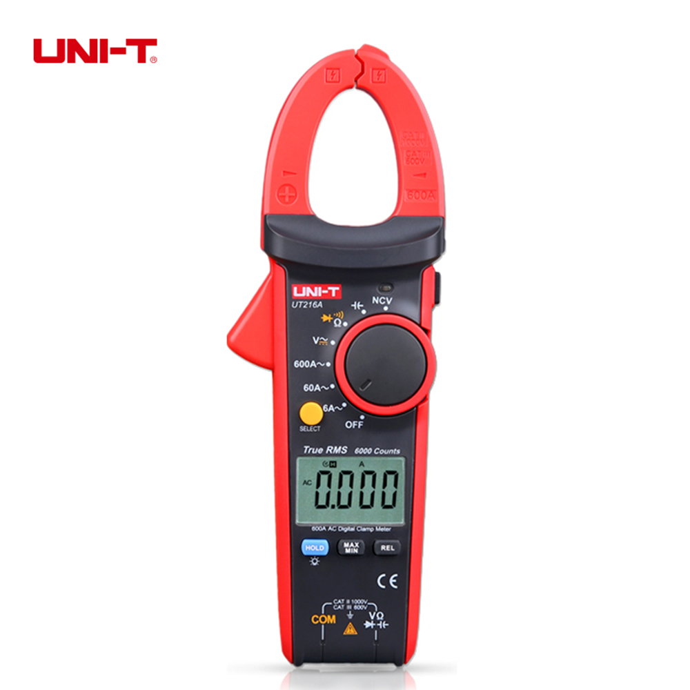 UNI-T UT216A Auto Range Multimeter Mini True RMS Digital Clamp Meter w/ NCV Capacitance AC/DC Voltage Current Tongs Ohm Tester