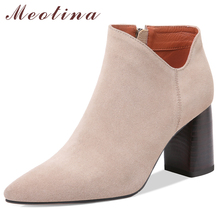 Meotina Women Shoes Autumn Ankle Boots Cow Suede Square High Heel Short Boots Genuine Leather Zipper Ladies Shoes New Size 34-39 цены онлайн
