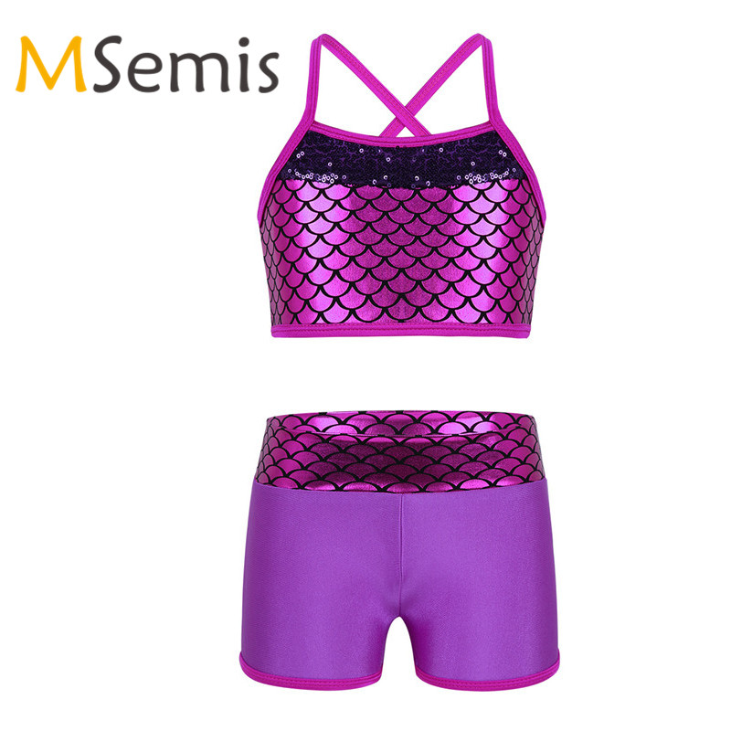 Kids Girls Tankini Outfit Gymnastic Swimsuit For Dancing Ballet Leotard Girls Sequins Mermaid Scales Tank Top With Bottoms Set