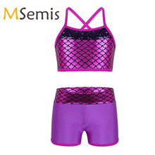 Kids Girls Tankini Outfit Gymnastic Swimsuit for Dancing Ballet Leotard Girls Sequins Mermaid Scales Tank Top with Bottoms Set(China)