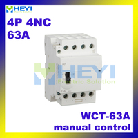 manual control household contactor WCT-63A voltage protector 4pole 4NC 220VAC 50Hz din rail contactor