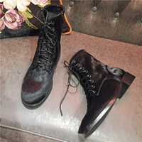 Horse Hair Upper Shoes Woman Ankle Boots Lace Up Casual Knight Boots Design Low Heels Round Toe Woman Boots Female Shoes Tide