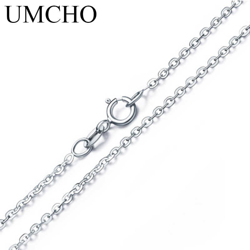UMCHO Free Shipping Real 925 Sterling Silver Italy Cable Chain Necklace 18 inch/ 45 cm Chain For Women Fine Jewelry For Women