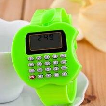 Часы детские портативные с калькулятором силиконовые мини часы