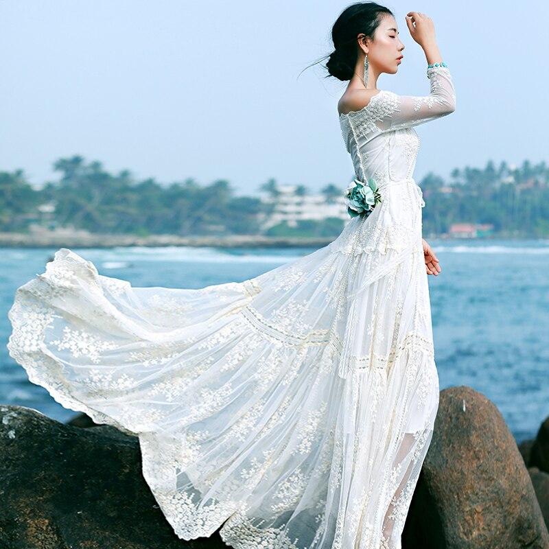 Линетт CHINOISERIE Летние оригинальные Дизайн Для женщин фея Кружева Длинные платья