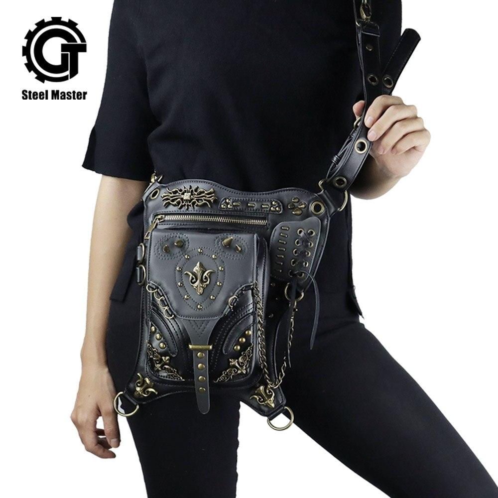 Vintage Rivets Punk chaîne PU cuir ceinture taille Pack sac gothique unisexe hanche jambe Fanny sac Rock moto cavalier croix corps sacs