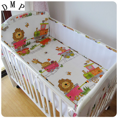 Promotion! 5PCS Mesh Lion Baby crib bedding set Bed set 100% cotton Newborn Bed sheet cot bumper set,include(4bumpers+sheet)