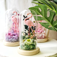 Pink Flamingos Natural Preserved Flowers glow Girl Glass Dome cap Home Decor wedding decoration gift flower vase Ornaments light