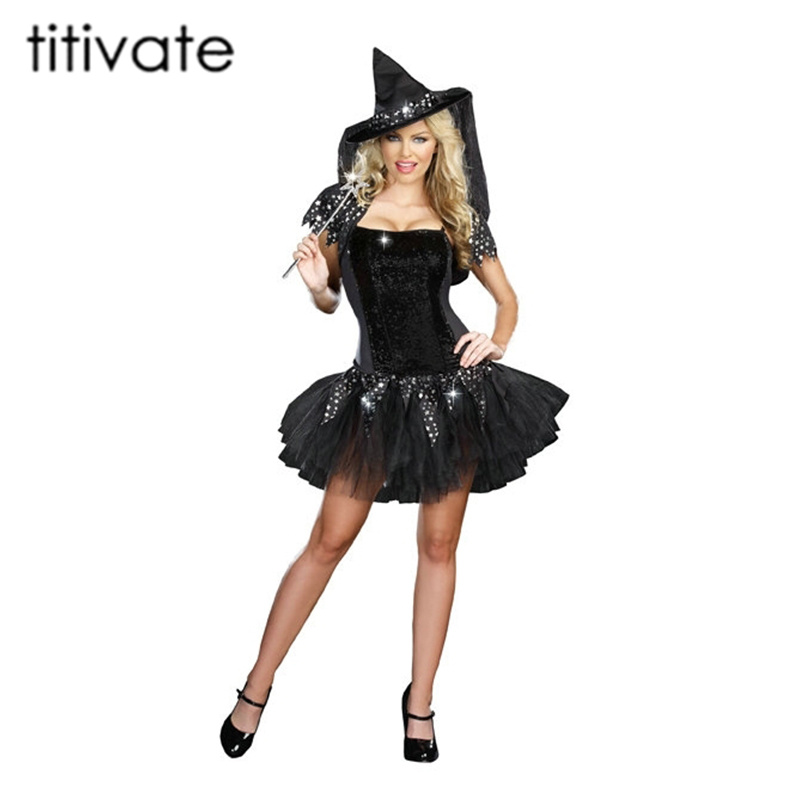 TITIVATE Halloween Sexy Witch Costume Women Black Evil Witch Costume Clothes Halloween Masquerade Plays Wicked Costumes