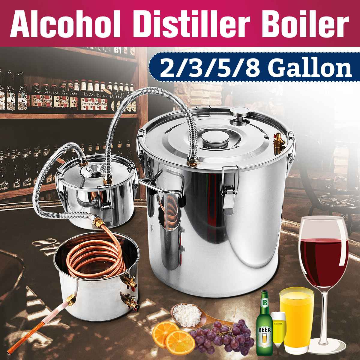 2 3 5 8 Gallon DIY Home Brew Distiller Moonshine Alcohol Still Stainless Copper Water Wine
