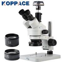 KOPPACE 3.5X 90X Magnification 10MP USB 3.0 Digital Camera Trinocular Stereo Zoom Microscope WF10X/20 Eyepieces LED Ring Light