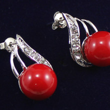 Мода круглый перлы раковины 10 мм серьгу ER00026 10 мм