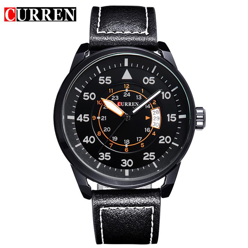 Prix pour Curren marque de luxe montre à quartz Occasionnel De Mode En Cuir montres reloj masculino hommes montre livraison gratuite Montres de Sport 8210