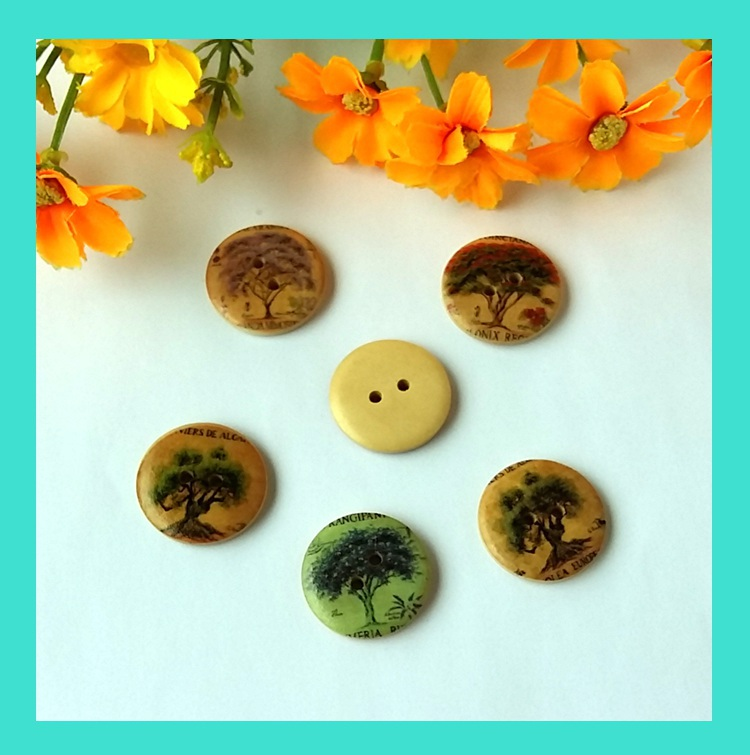 25mm 20PCS Mix Trees Pattern 2 holes multicolour painted wooden buttons sewing Supplies handcraft clothes buttons