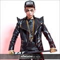 Original design Nightclub singer dj Male ds costume Personality Leather Rivet Zipper Outerwear  Stage show performance wear