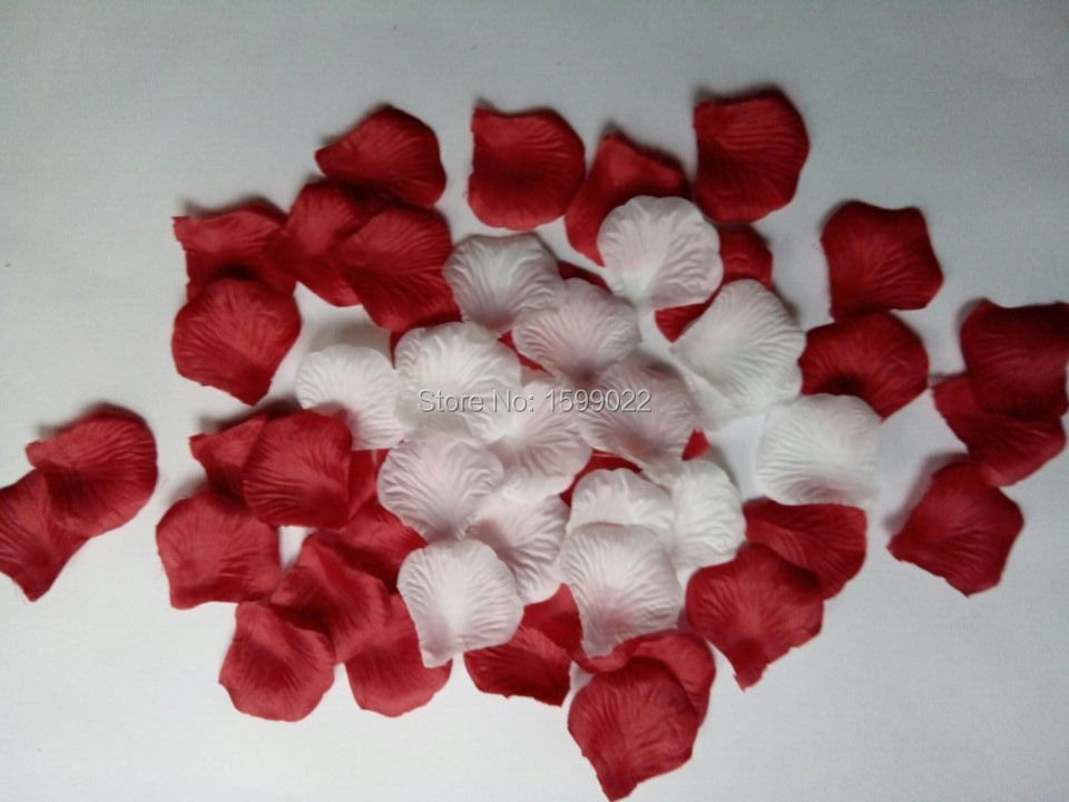 1000pcs 10packs Red Mixed White Artificial Silk Flower Girl Rose Petals For Weddings Aisle Decorations