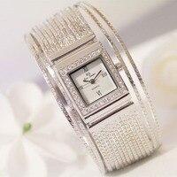 הגעה לניו מותג מפורסם נשים שעון צמיד יהלומי יוקרה חמה למכירה תכשיטי שעון כסף Shinning ריינסטון צמיד צמיד