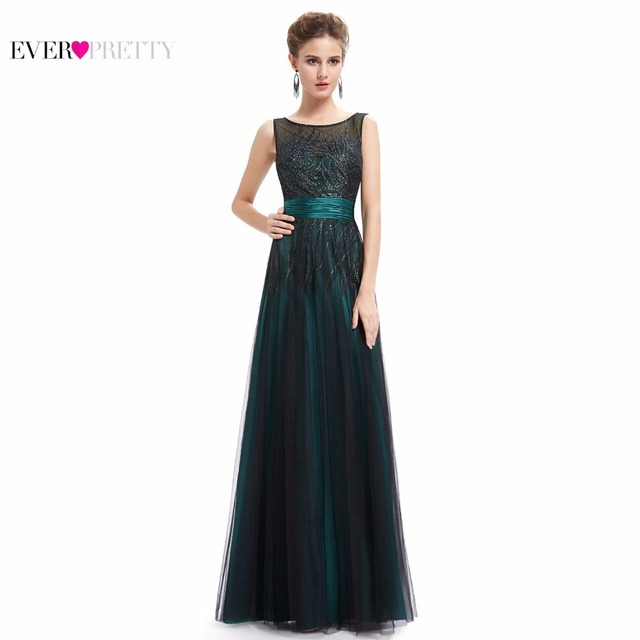 Ever Pretty Evening Dresses HE08740GR Women's Elegant Sleeveless Green Evening Round Neck Long Party Dresses 2017 New Arrival