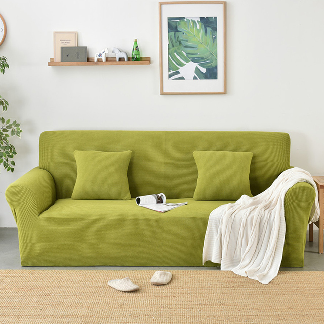 Green Sofa Seat Cushion Cover Solid Color Stretch