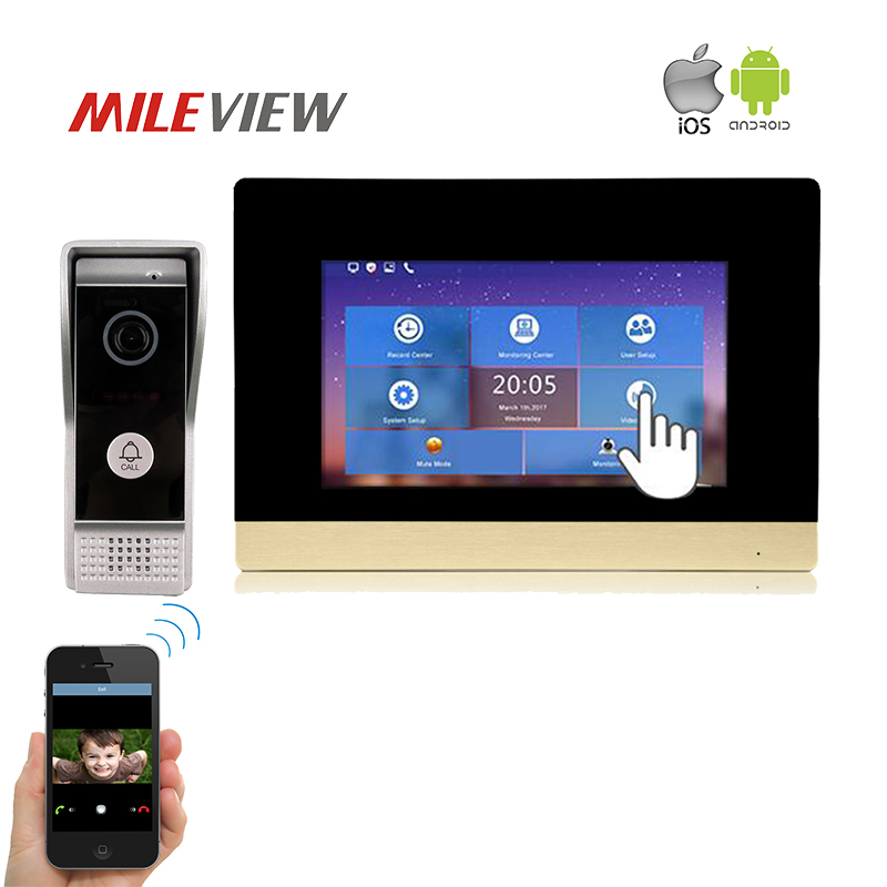 Free Shipping 1.0MP 720P AHD HD IP WIFI 7 Touch Screen Video Intercom Door Phone System Record Monitor for Android IOS Phone