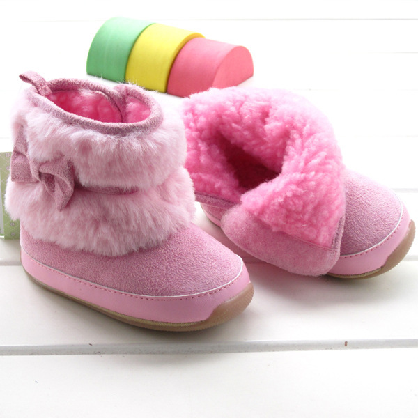 Free Shipping Baby Boots Soft Warm 8883b Winter 12-24 months Infant Boots First Walkers Pink Princess Footwear Little Girl Boot