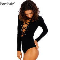 ForeFair Long Sleeve Knitted Slim Short Jumpsuit Black Sexy Criss-Cross Lace-Up Party Club Bodysuit Top