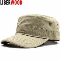 f776aea534a LIBERWOOD Brand Men Embroidered skull Cap cotton flat top hat Army Cadet hat  skulls punisher baseball