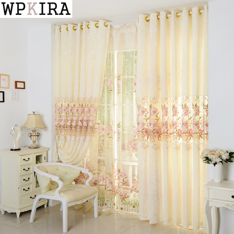 Light Yellow Luxury High Quality Embroidered Curtain Shade Light Living Room Tulle Curtains Window Screening Sheers 231&20