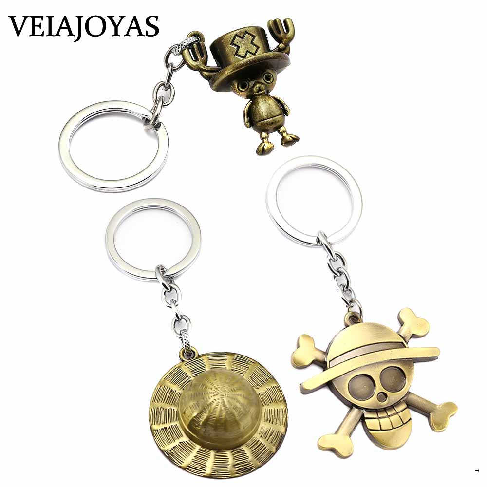 Key Rings Collection Here Cartoon Figure Keychain One Piece Pendant Chaveiro Bronze Key Chain Porte Clef Monkey D Luffy