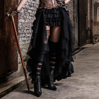 Steampunk Maxi Ruffle Skirt for Women Punk Gothic Black Mesh Lace Long Skirts Party Casual Lace up Skirt