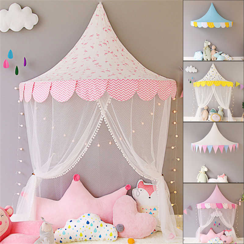 White Lace Girls Princess Dome Canopy Curtains Round Kids Play Teepee Tipi  Tent Room Decoration Baby Bed Hanging Crib Netting