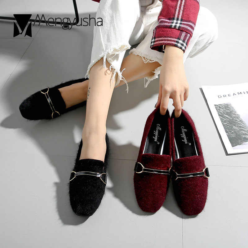 8398b791528 ... 43 big size mink fur shoes woman glitter crystal beading flats 2018  winter plush mules women ...