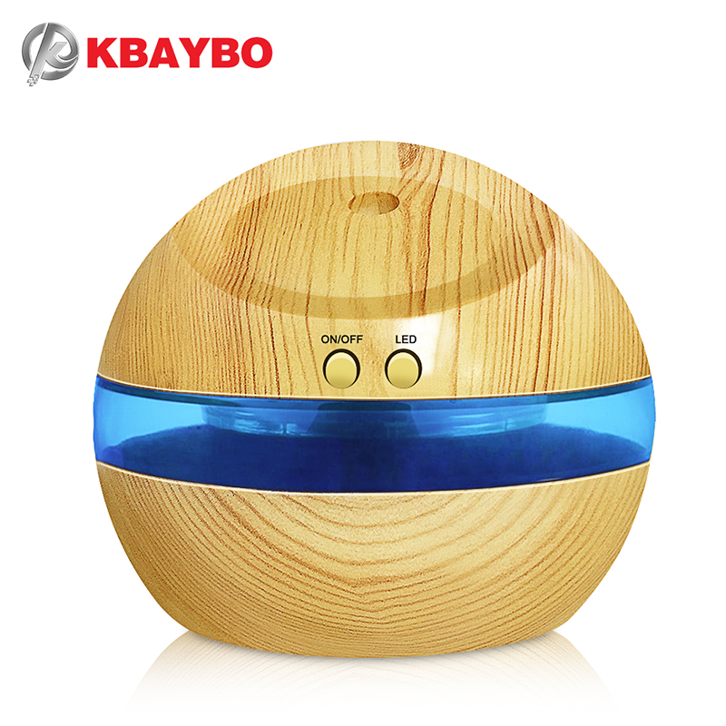 USB Ultrasonic Humidifier, 300ml Aroma Diffuser Essential Oil Diffuser Aromatherapy mist maker with Blue LED Light (Wood grain) 100ml wood grain led ultrasonic humidifier essential oil diffuser aroma lamp aromatherapy electric aroma diffuser mist maker