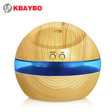USB Ultrasonic Humidifier, 300ml Aroma Diffuser Essential Oil Diffuser Aromatherapy mist maker with Blue LED Light (Wood grain)