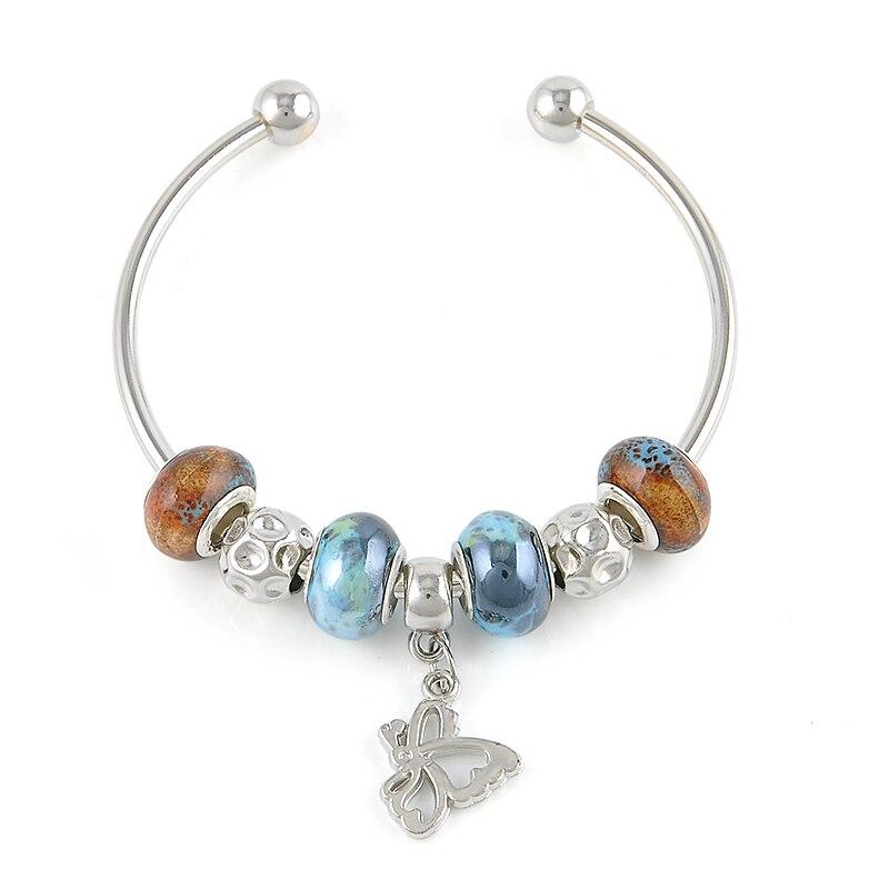 Argent Plaqué Bracelets Pour Les Femmes Perles Bracelet Bracelet Femme  Bijoux De Mode Bijoux Papillon Bracelets   Bangles Pulsera ff984acc5e3a