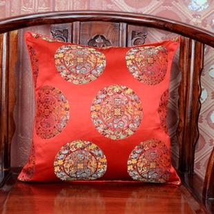 Винтаж жаккардовая подушка для кресла, дивана крышка шелковая подушка чехол площадь в этническом стиле декоративные подушки атласные рождественские наволочка 45x45 - Цвет: red dragon