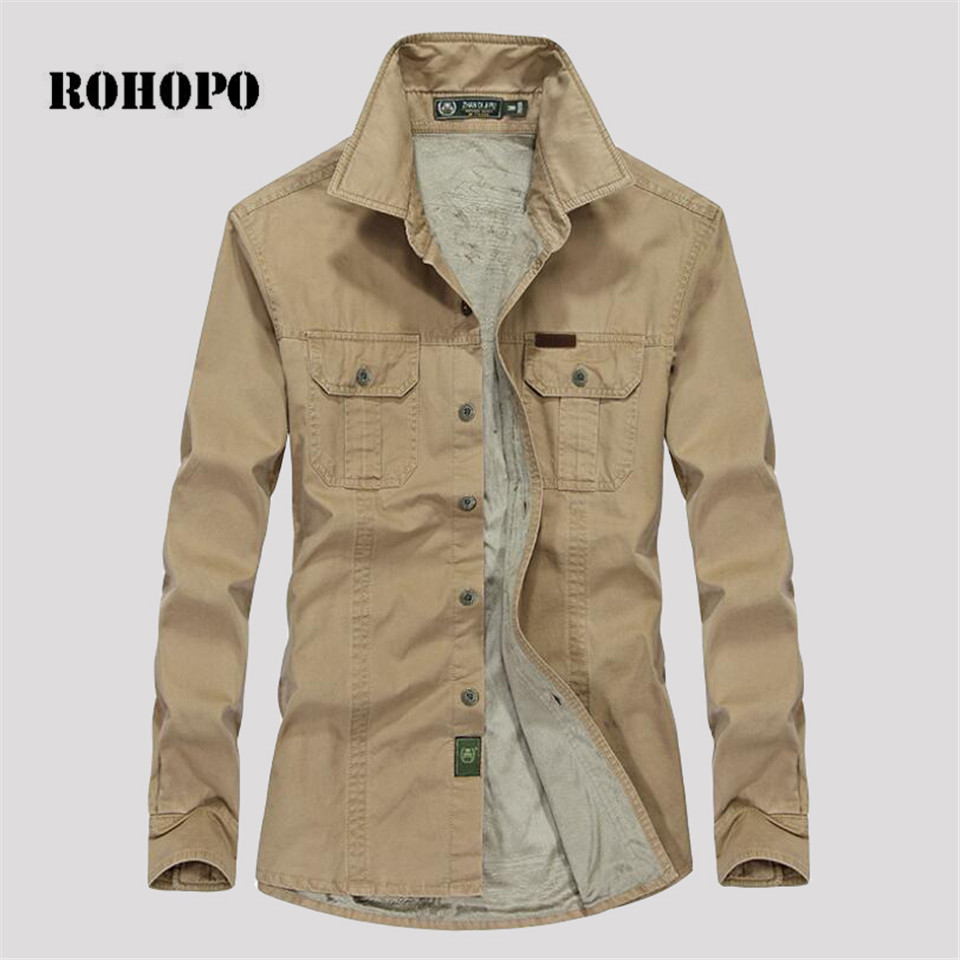 ROHOPO Shirt Cotton Fabric Winter Fleece Warm Winter Mans Thickness Cotton Shirt Long Sleeve Cashmere Inner Keep Warmly Shirts