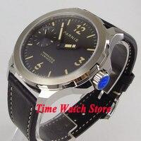 Новая мода 44 мм Parnis мужские часы Механические 6497 Рука обмотки движение сапфировое стекло черный циферблат светящиеся стрелки 995