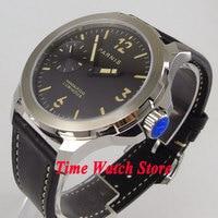 Reloj mecánico para hombre PARNIS de 44mm  movimiento manual de cuerda 6497  cristal de zafiro  esfera negra  manos luminosas 995