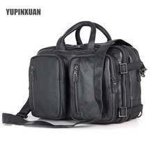 YUPINXUAN Top Quality Cow Leather Briefcase Men 14″ Laptop Handbags Black Large Capacity Genuine Leather Messenger Bag Russia