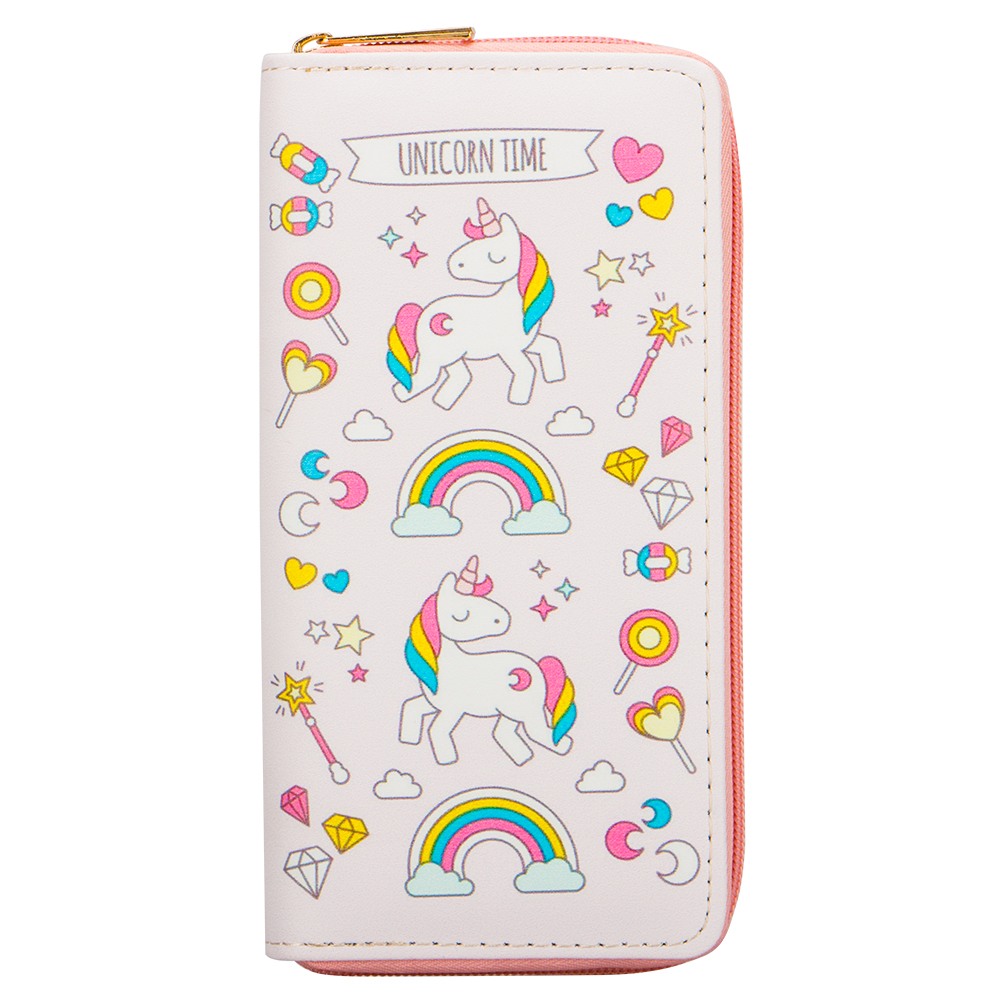 Sansarya 2018 New Fashion Pink Dreamlike Rainbow Unicorn Print Women PU Wallet Designer Ladies Card Holder Zipper Female Purse