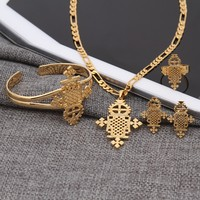 Sky Talent Bao 2017 New Arrival Ethiopian Jewelry Sets 24k Gold GF Ring Necklace Bracelet African