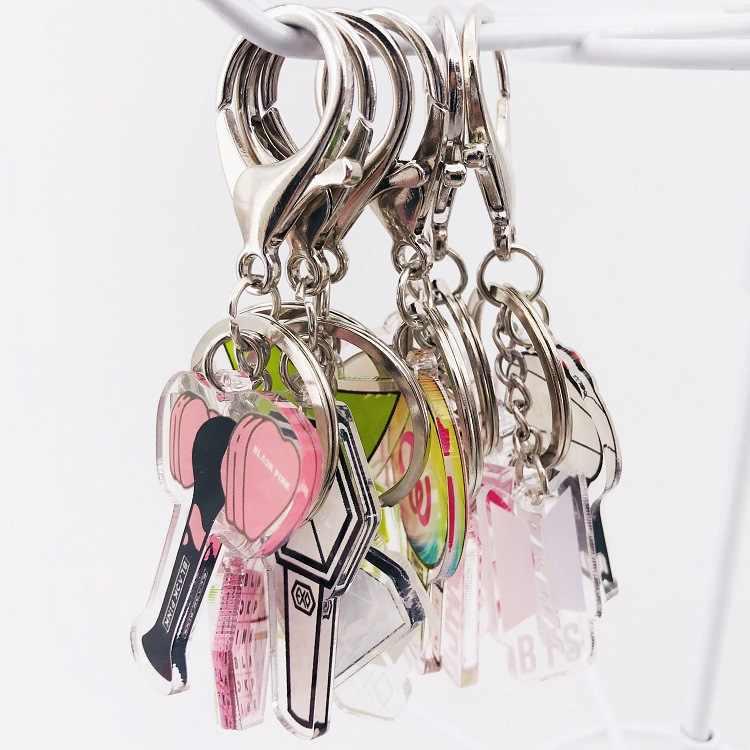 Blackpink Kpop גלרית EXO GOT7 פעמיים Keychain אביזרי מפתח שרשרת מפתח טבעת חמוד תליון Keyring