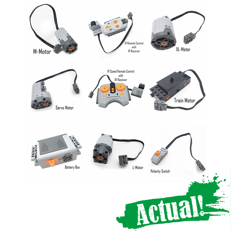 Technical Power Functions Servo Motor Polarity Switch Light Set IR Speed Remote Control Receiver Battery Box legoingly technic