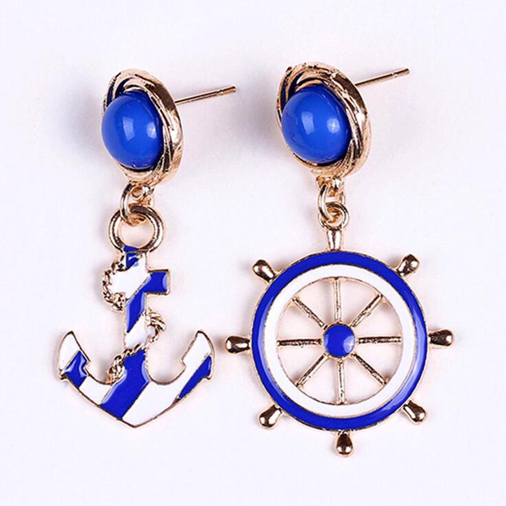 Tomtosh Blue Kiss Fashion 2016 New Hot Selling European And American Fashion Personality Style Anchor Earrings For Women