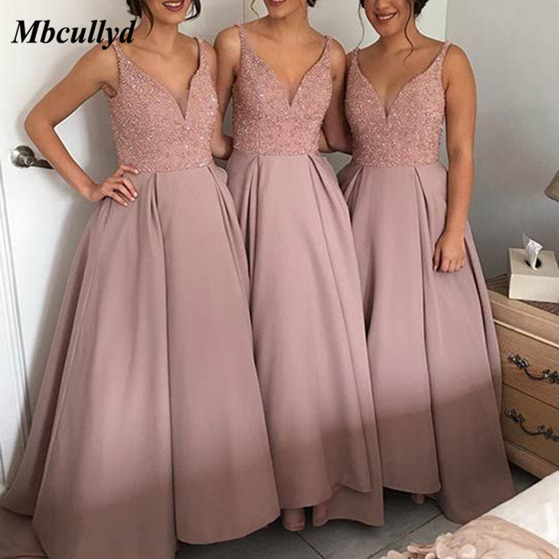 Sexy V-neck Long   Bridesmaid     Dresses   2019 Shining Beading Country Style A-line Wedding Party Gowns Pink robe demoiselle d'honneur