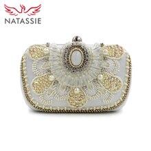 Natassie marke 2016 neue frauen perle abendtaschen großhandel designer weiß hochzeit perlen box clutch schulter geldbörse